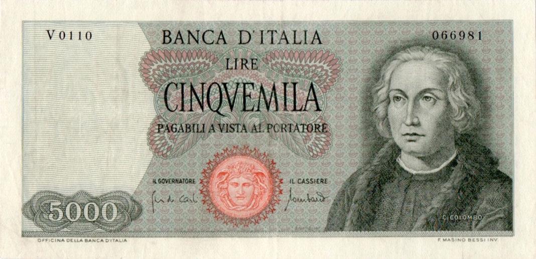 La banconota da 5.000 Lire del 1970 con l'effige di Colombo