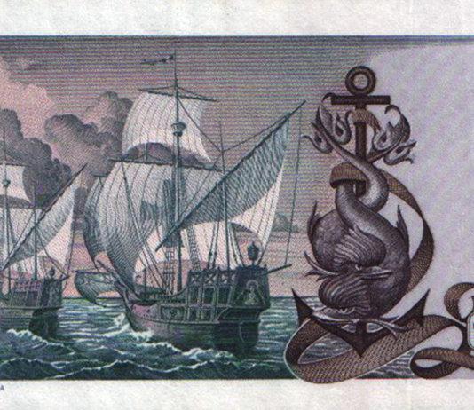 Le 5000 Lire del 1973 (2°tipo). Il retro con le navi di Colombo.