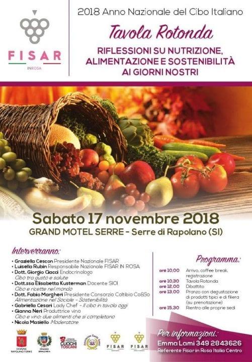 Il programma della mezza giornata di lavori su nutrizione, alimentazione e sostenibilità organizzata dalla delegazione Centro Italia di FISAR In Rosa nell'anno del cibo italiano