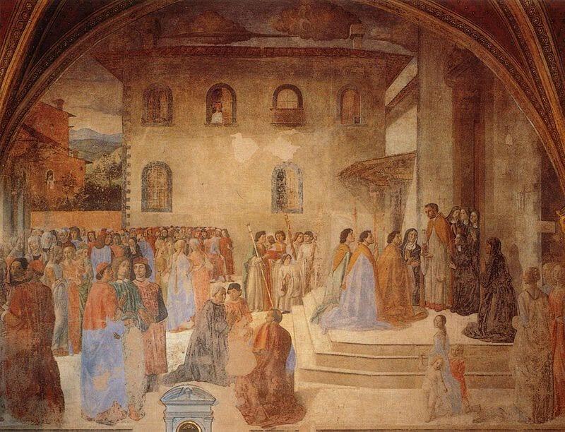 """""""Affesco del Miracolo del calice"""" di Cosimo Rosselli sito nella Cappella del miracolo della Chiesa di Sant'Ambrogio a Firenze."""