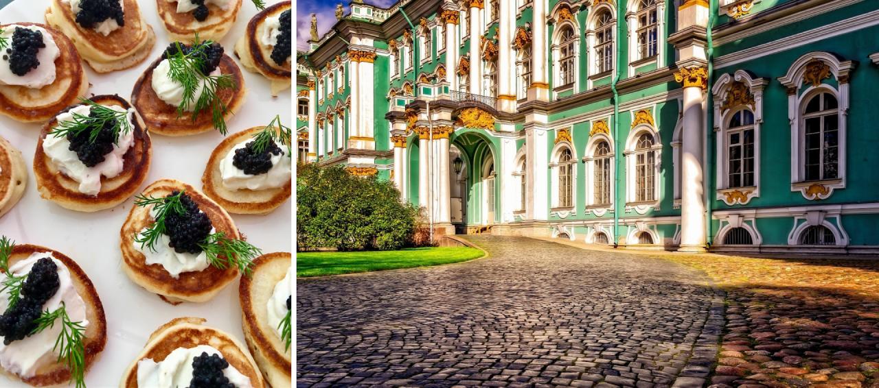 Bliný con smetana e caviale • Il cortile esterno del museo Ermitage di San Pietroburgo, tra i più visitati al mondo