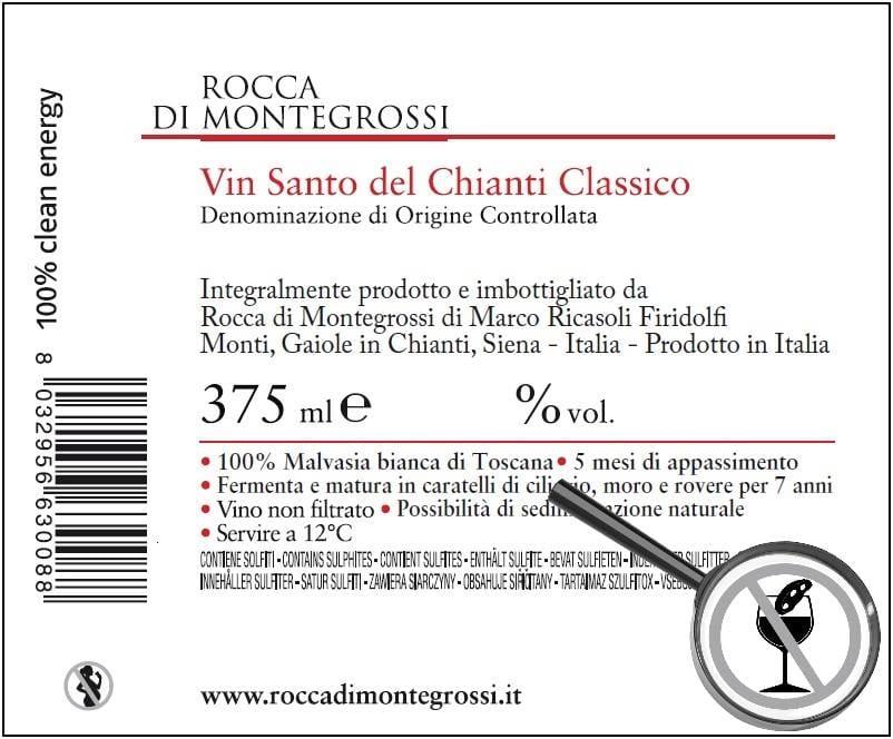"""L'etichetta """"incriminata"""" del Vin Santo di Rocca di Montegrossi"""