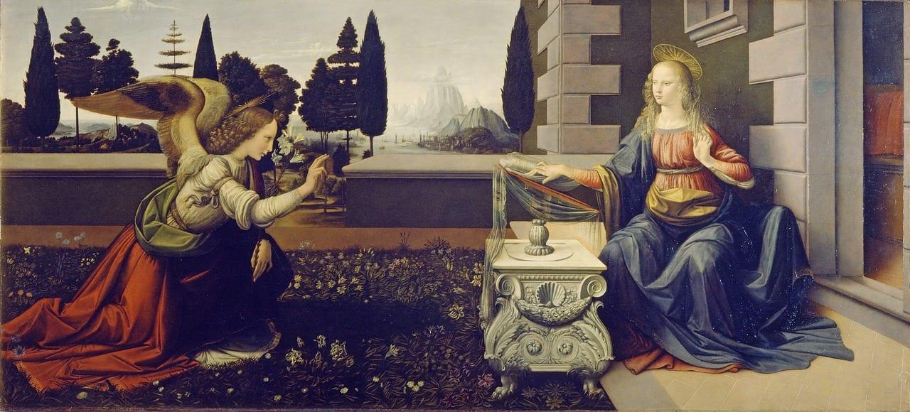L'Annunciazione, olio e tempera su tavola attribuito a Leonardo da Vinci, conservato nella Galleria degli Uffizi di Firenze