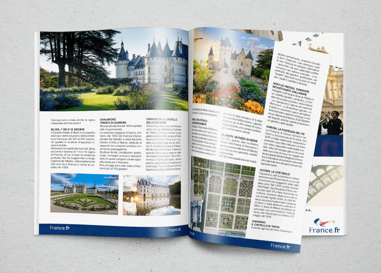 Un servizio sui castelli della valle della Loira sul numero 1 di France.fr, magazine di Atout France