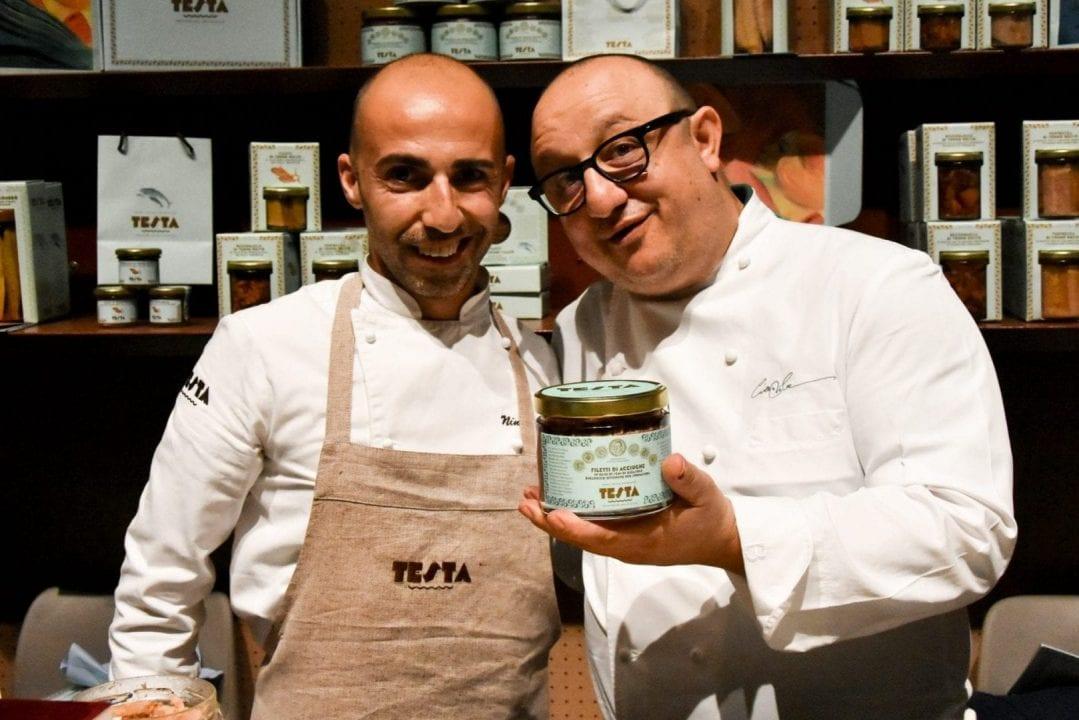 Lo chef Ciccio Sultano, testimonial dell'azienda Testa assieme a Nino Testa