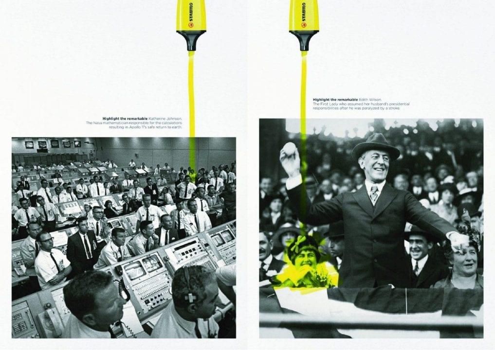 """La pubblicità di Stabilo Boss """"Highlight the Remarkable"""" che evidenzia a sinistra Katherine Johnson, a destra Edith Wilson"""