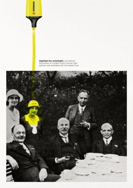 """La pubblicità di Stabilo Boss """"Highlight the Remarkable"""" con Lise Meitner"""