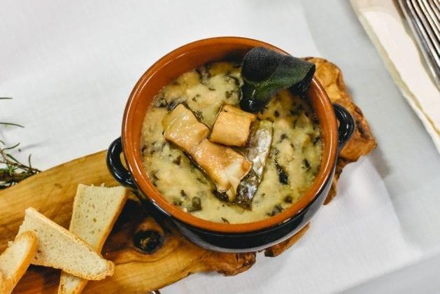 Food&Wine in Progress 2019 Farinata con Muggine affumicata del Ristorante Borgo Allegro di Vinci, Cooking Show URCT