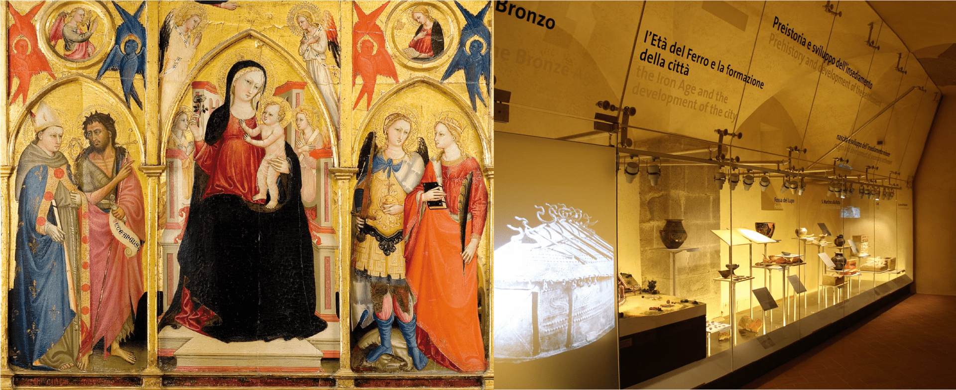 MAEC Cortona, il Trittico con Madonna con Bambino e Santi di Bicci di Lorenzo ed un momento del percorso di visita del Museo