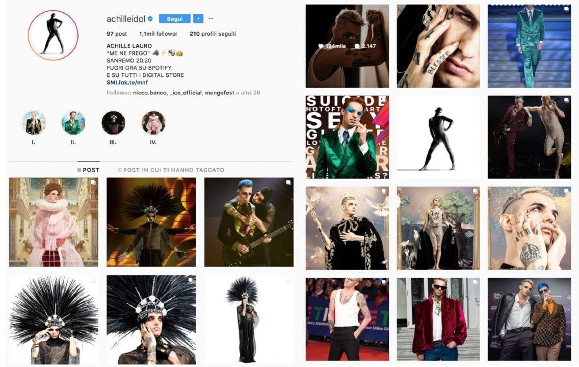 Il profilo Instagram di Achille Lauro